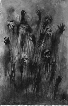 scary art Black and White creepy horror supernatural dark morbid 1000 darkness blackandwhite ghost Demon notes Macabre zombie spooky spirit onek 1000 notes black and white art creepy art horror art scary art macabre-of-horror Dark Fantasy Art, Digital Art Illustration, Art Macabre, Art Sinistre, Art Noir, Dark Art Drawings, Dark Art Paintings, Creepy Paintings, Dark Art Illustrations