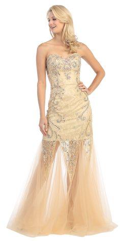 Studded Corset Torso Sheer Skirt Long Dusty Pink Prom Dress