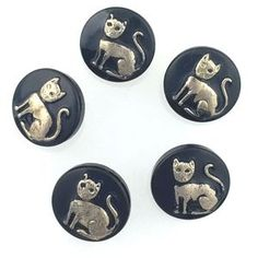 Czech Glass Button Black Cat with Silver 13mm 5 Pieces
