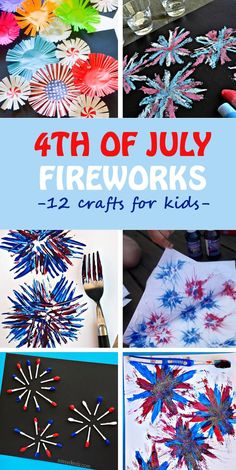 Fireworks crafts for kids. Easy of July crafts - - Fireworks crafts for kids to celebrate of July. 12 creative ways to paint and make fireworks with cupcake liners, Q-tips, handprints and much more. 4th July Crafts, Fourth Of July Crafts For Kids, Patriotic Crafts, 4th Of July Party, July 4th, Patriotic Party, Fireworks Craft For Kids, Fireworks Art, 4th Of July