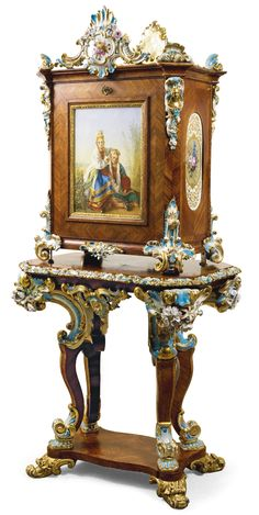 A rosewood, porcelain and gilt-bronze writing cabinet, Peter and Ernst Gambs and the Imperial Porcelain Manufactory, St Petersburg, circa 1842 | Lot | Sotheby's