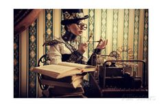 Portrait Of A Beautiful Steampunk Woman Over Vintage Background Kunstdrucke von prometeus bei AllPosters.de