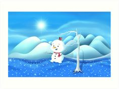 'Snowbaby on Sparkling Ice' Art Print by We ~ Ivy Ice Art, Art Prints For Home, Fantasy Story, My Themes, Website Themes, Sparkling Ice, Art Boards, Ivy, Snowman