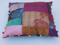 Indian Silk sari Kantha Patchwork Cushion Cover, 16x16 Embroidered Indian Decorative Throw Pillow, Indian Cushion Cover, Silk Cushion Cover on Wanelo