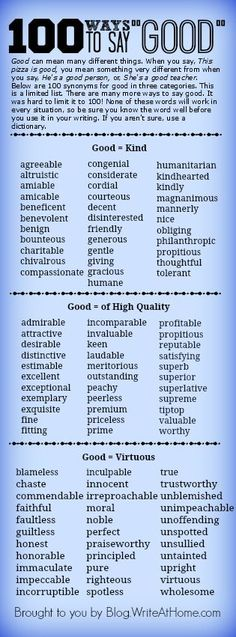 "100 ways to say ""good"" with differing connotations."