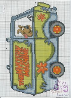 Scooby Doo in Mystery Machine cross stitch Cross Stitch For Kids, Cross Stitch Kits, Counted Cross Stitch Patterns, Cross Stitch Charts, Cross Stitch Designs, Cross Stitch Embroidery, Scooby Doo, Pokemon Cross Stitch, Pix Art