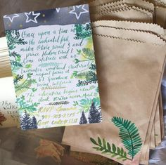 Favor Bags Enchanted Birthday Party Forest Fairy Couture Handmade Art by: Pigment & Parchment