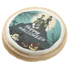 #Spooky Haunted House Costume Night Sky Halloween Round Shortbread Cookie - #halloween #party #cookies #sweets #goodies