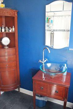 Bathroom Vanity Van Nuys vanity from refinished sewing table, add simple glass vessel sink