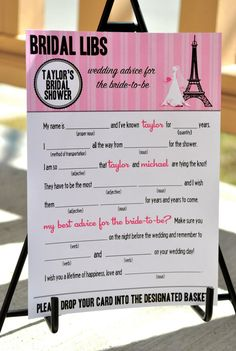 Paris themed mad libs card for bridal showers - so cute! $20.00