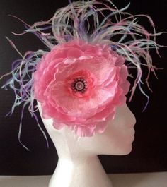 Pink Peony Flower Rainbow Feathers  Couture Headband. Handmade by Fancy Girl in Brooklyn, NY
