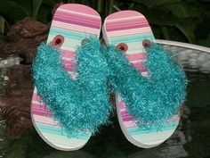 SPECIAL  Girls Flip Flops with Yarn Trim by Shelly6262 on Etsy, $12.00
