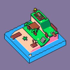 [OC] Isometric island. (animation)