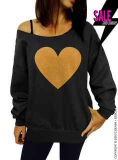 "Use coupon code ""pinterest"" Heart Sweatshirt - Valentine's Day - Black with Gold Slouchy Oversized Sweatshirt by DentzDenim"