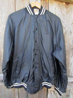 Black Baseball Jacket by Auburn Sportswear, Men's L, Women's XL // Vintage Black Varsity Jacket Close Up Pictures, Almost Always, Auburn, Vintage Black, Grunge, Sportswear, Stripes, Baseball, Lady