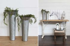 Galvanized Wall Planters, Set of 2 | Industrial Farmhouse
