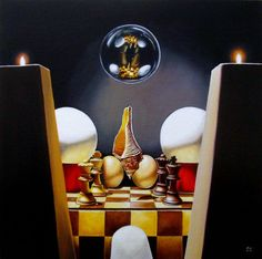 """Mystic Still life with chess eggs shell"" by Jean-Pierre Walter. Oil painting on Canvas, Subject: Still life, Surrealistic style, One of a kind artwork, Signed on the front, This artwork is sold framed, Size: 50.3 x 50.3 x 3 cm (framed), 19.8 x 19.8 x 1.18 in (framed), Materials: Finest artists' oils on canvas board"
