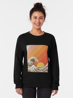 """Great Wave Ocean Vintage Retro Aesthetic "" Pullover Sweatshirt by ind3finite 