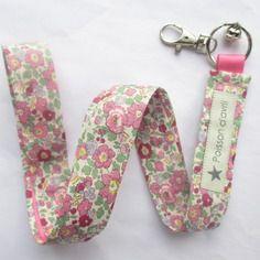 Porte-clés collier en liberty betsy ann rose japonais (très chouette boutique)