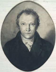 William Blake. Poet and artist. Except for 3 years spent on the coast near Bognor, Blake lived his whole life in London, making his living as an engraver. Born at 28 Broad Street, now Broadwick Street (the memorial being in Marshall Street). Wrote Jerusalem in his rooms in South Molton Street, the only one of his 5 London homes to survive Cont..