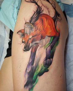Maned fox tattoo by Jorell