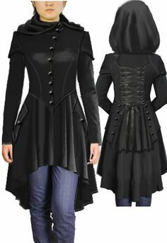 Hooded Victorian Coat by Amber Middaugh. I would totally rock a coat that looks like this. Costume Steampunk, Steampunk Fashion, Gothic Fashion, Steampunk Coat, Steampunk Vetements, Victorian Coat, Gothic Outfits, Mode Inspiration, Fashion Clothes