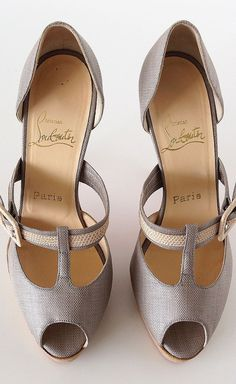 Christian Louboutin Shoe Peeptoe Textile Lizard Platform