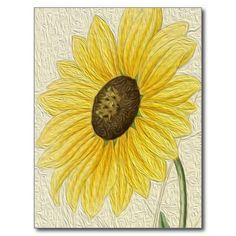 Vintage Flower Oil Painting Sunflower Post Cards