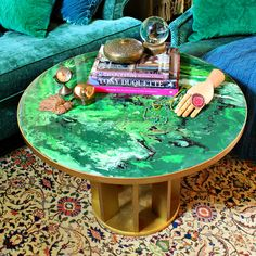 Green Faux Marble Table DIY! #DecoArt #EclecticProducts #Pouring Medium #GlazeCoat