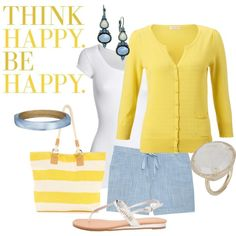 Think Happy. Be Happy., created by maggiesuedesigns on Polyvore