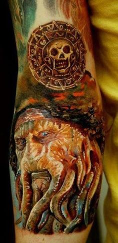 Pirates of the Caribbean Davy Jones and pirate medallion tattoo
