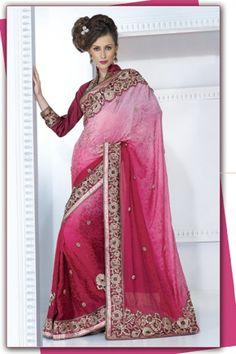 Shaded pink jacquard crepe saree