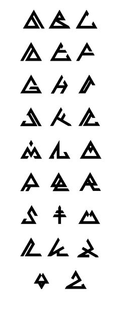 Comment: I like the idea of using a fixed shape (in this case- a triangle) to base a series of symbols. It reminds me how Bionicle had an alphabet that used circular symbols. Alphabet Symbols, Graffiti Alphabet, Glyphs Symbols, Tattoo Alphabet, Alphabet Style, Abc Alphabet, Mayan Symbols, Viking Symbols, Egyptian Symbols