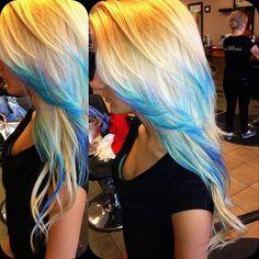 Long blonde hair, blue tips