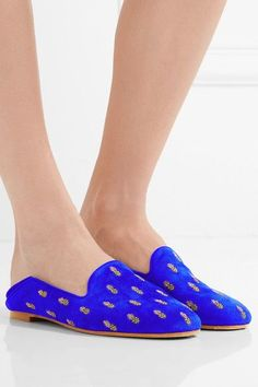 Aquazzura - Ananas Embroidered Suede Slippers - Royal blue - IT38.5