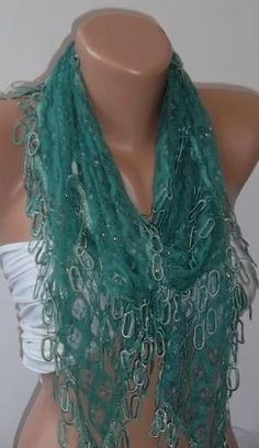 Green lace and Elegance Shawl \  Scarf with Lace Edge by womann