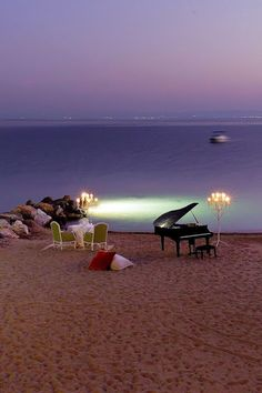 candles, sea & baby grand