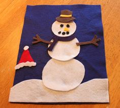 Build your own felt snowman. My goal is to make a big felt board and mount it on the wall. This would be a wonderful game for the felt board!