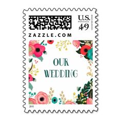 Our Wedding. Modern Floral Painting Design Wedding Party, Engagement Party Invitation / Announcement Postage Stamps. Matching Bridal Shower Invitations, Wedding Invitation Cards, Wedding Postage Stamps, Wedding Save the Date Announcements, Bridesmaid to be Request Cards, Thank You Cards , RSVP Cards and other Wedding Stationery and Wedding Gifts and Favors available in the Modern Design Category of the yourweddingday store at zazzle.com