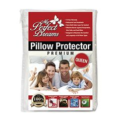 Premium Quality Pillow Protector  WAKE UP WITHOUT A STUFFY NOSE DUE TO ALLERGIES 100 Waterproof Breathable ZIPPERED Hypoallergenic Dust Mite and Bed Bug Protection by My Perfect Dreams  QUEEN *** Read more from Amazon.com