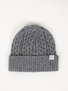 Norse Projects Cable Knit Beanie Light grey