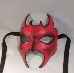 Devil #mask #red #masquerade mask #masked #ball #devil #satan #costume #eyewear #fancy #dress by MasksbyDebbsElliman