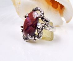 Mid Century Modern Sterling Silver 925 Purple Paua Shell Brutalist Size 6 Ring #Studio #Statement
