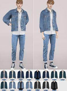 Elio denim jacket by - sims - Sims 4 Men Clothing, Sims 4 Male Clothes, Men Clothes, Girl Clothing, Clothing Styles, Mods Sims 4, Vêtement Harris Tweed, Sims 4 Children, Sims 4 Gameplay