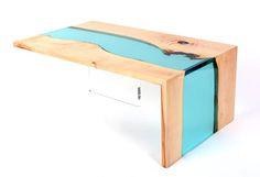 Modern Coffee table Live edge coffee table Waterfall resin