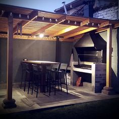 Quincho #outdoorkitchenideas #outdoordiydollarstores Outdoor Bbq Kitchen, Outdoor Kitchen Design, Patio Design, House Design, Rustic Outdoor, Outdoor Kitchens, Parrilla Exterior, Dirty Kitchen, Apartment Decorating On A Budget