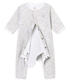 Dors bien sans pieds bébé mixte avec body intégré gris Beluga   blanc Ecume  - Petit Bateau e49b26d631c