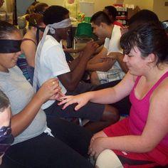 Blindfolding for manicures at Brenwood.