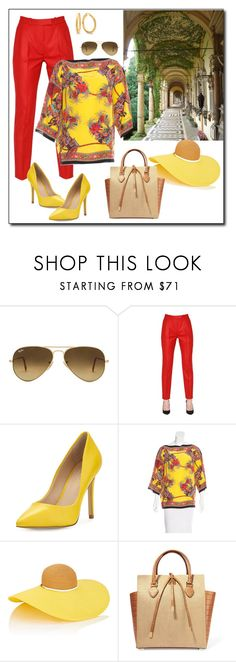 """""""Red & yellow"""" by ganing ❤ liked on Polyvore featuring Ray-Ban, Ingie Paris, Charles by Charles David, Dolce&Gabbana, Eugenia Kim and Michael Kors"""