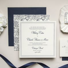 Oversized Square Floral Navy Letterpress Wedding Invitation -- Sample -- Posh (FREE SHIPPING)